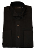 Double TWO - Cotton / Nylon dinner jacket shirt black