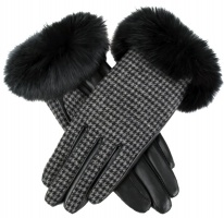 Dents - Eliza Women's Wool Lined Fabric & Hairsheep Leather Gloves with Fur Cuffs