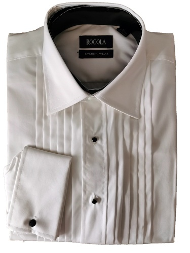 Rocola - Classic white evening shirt with pleated front