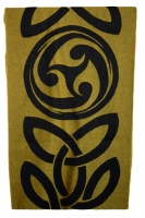 James Pure Wool Celtic Swirl Reversible Scarf Black Gold