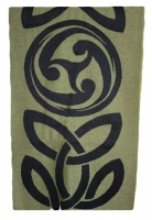 James Pure Wool Celtic Swirl Reversible Scarf Black Lime