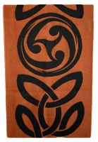 James Pure Wool Celtic Swirl Reversible Scarf Black Orange