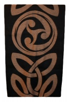 James Pure Wool Celtic Swirl Reversible Scarf Black Camel