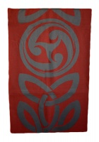 James Pure Wool Celtic Swirl Reversible Scarf Grey Cranberry
