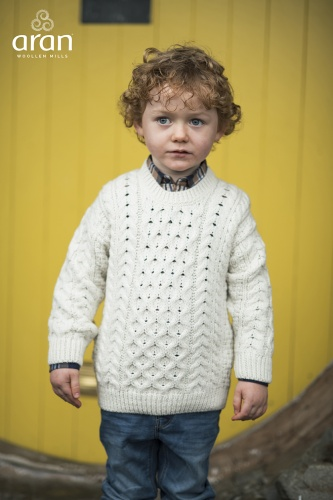 Aran Woollen Mills Childrens Supersoft Merino Aran Pullover
