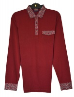 Gabicci - Plain long sleeve polo shirt with paisley pattern collar