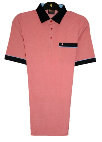 Gabicci - Plain pique polo shirt with contrasting collar