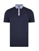 Gabicci - Plain polo shirt with check collar