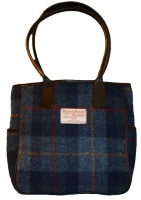James Sienna Tote Harris Tweed Bag Blue Check
