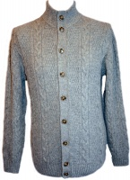 Johnstons - Mens cashmere cable turtle neck cardigan light grey