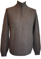 Johnstons - Mens cashmere cable zip neck pullover driftwood