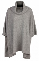 Johnstons - Ladies cashmere cowl neck blanket poncho light grey