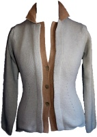 Johnstons - Ladies cashmere 4 ply double collar blazer cardigan hessian and sandstorm