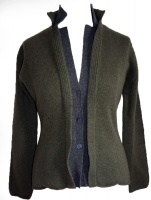 Johnstons - Ladies cashmere 4 ply double collar blazer cardigan loden and mid grey