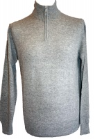 Johnstons - Mens cashmere zip turtle neck pullover light grey