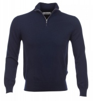 Johnstons - Mens cashmere zip turtle neck pullover navy