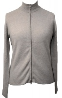 Johnstons - Ladies cashmere 2ply reversible zip cardigan platinum champagne
