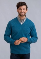 William Lockie Rob Mens Lambswool V Neck Pullover