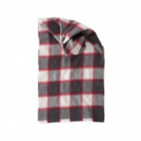 Johnstons merino guarded block check scarf charcoal