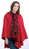 James Pure Wool Celtic Swirl Reversible Scarf Black Red