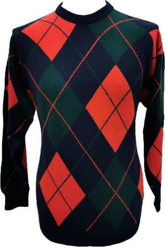 Westaway - 2ply cashmere crew neck all over argyle intarsia pullover