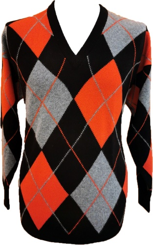 Westaway - 2ply cashmere v neck all over argyle intarsia pullover