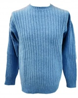 Westaway Mens Lambswool  3ply Ribbed Crew Neck Pullover