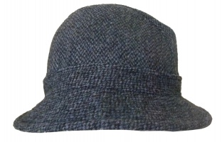 Glen Appin Harris tweed drop drim hat blue charcoal houndstooth