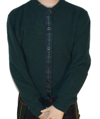 Westaway - Childrens shetland round neck cardigan with tartan ribbon
