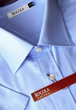 Rocola - Easycare pale blue short sleeve cotton shirt