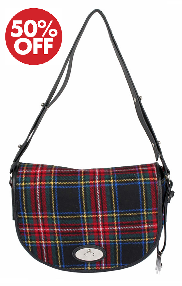 Dents - Elise Flap Over Tartan Bag Black Stewart