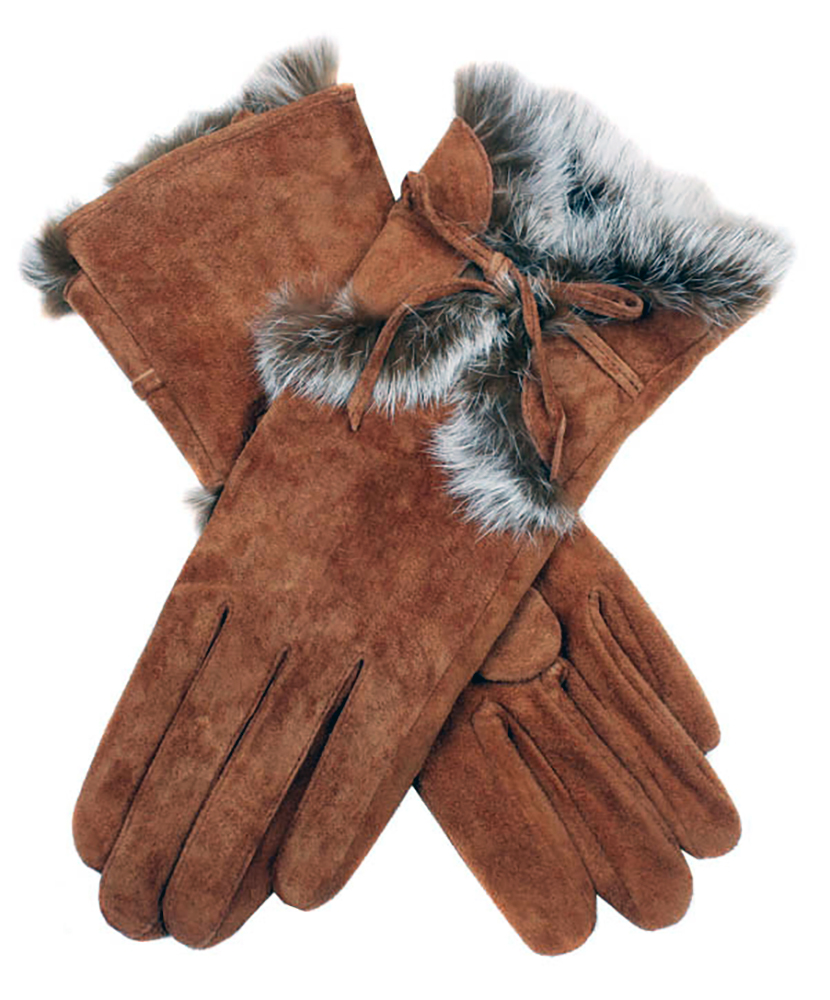 Dents - Orla Women's Pigsuede Gloves with Fur Cuffs