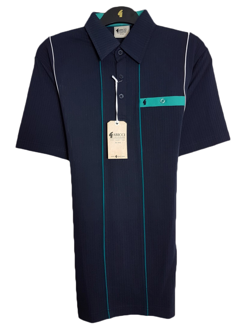Gabicci - Polo shirt with stitch ribbing and contrast pocket top