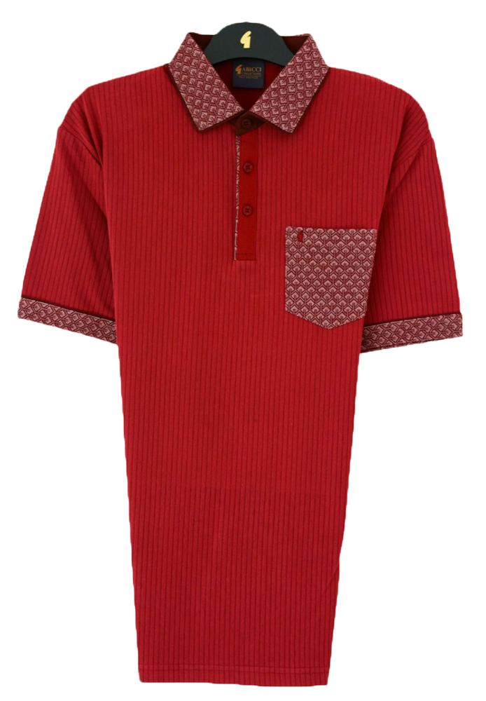 Gabicci - Plain polo shirt with peacock pattern collar