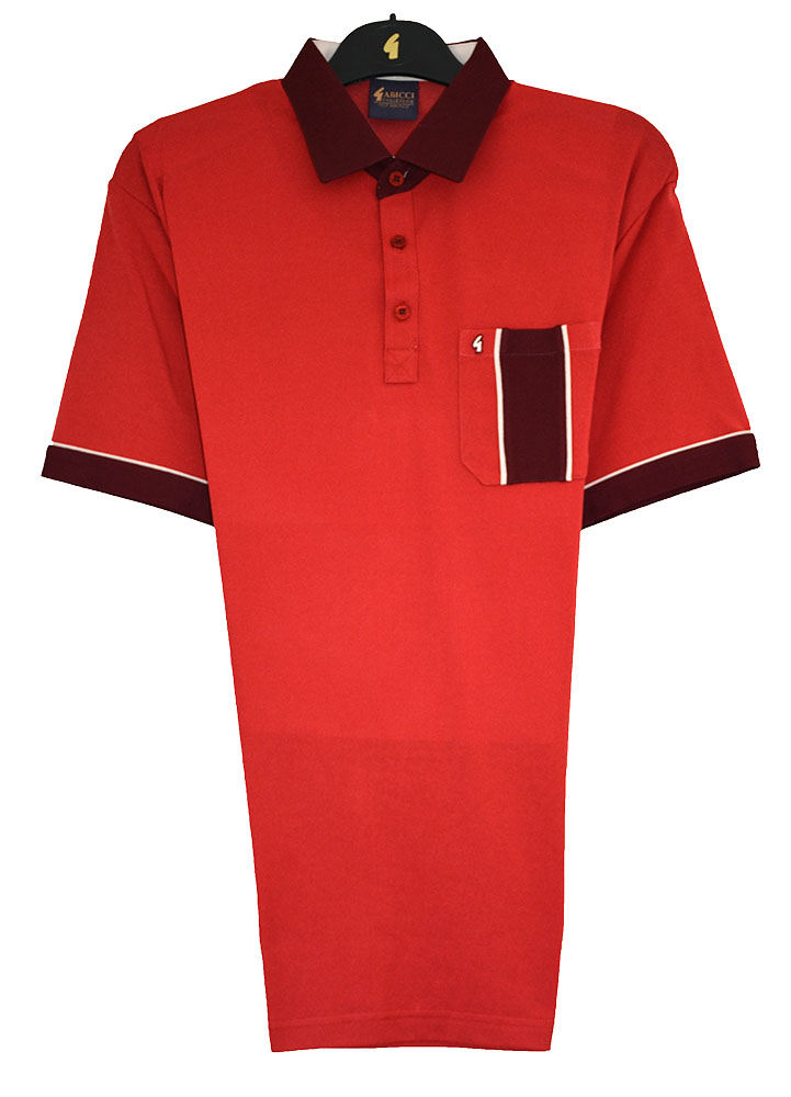 Gabicci - Plain polo shirt with contrasting collar and sleeve ends and block pocket