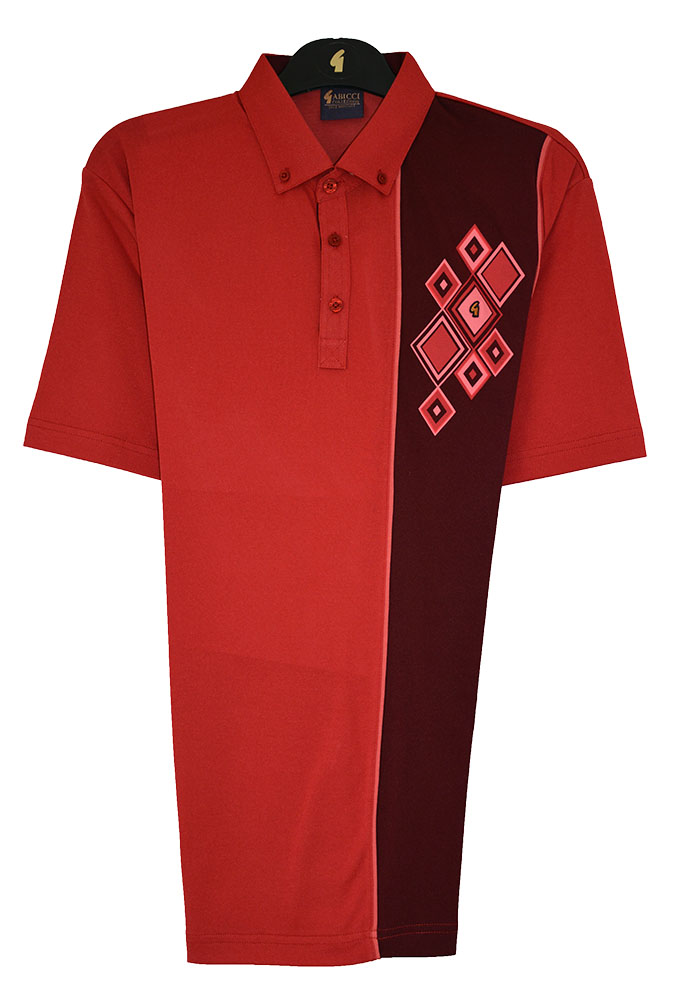 Gabicci - Plain polo shirt with contrasting block and diamonds