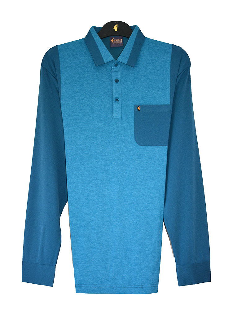 Gabicci - Plain long sleeve polo shirt with contrasting sleeves