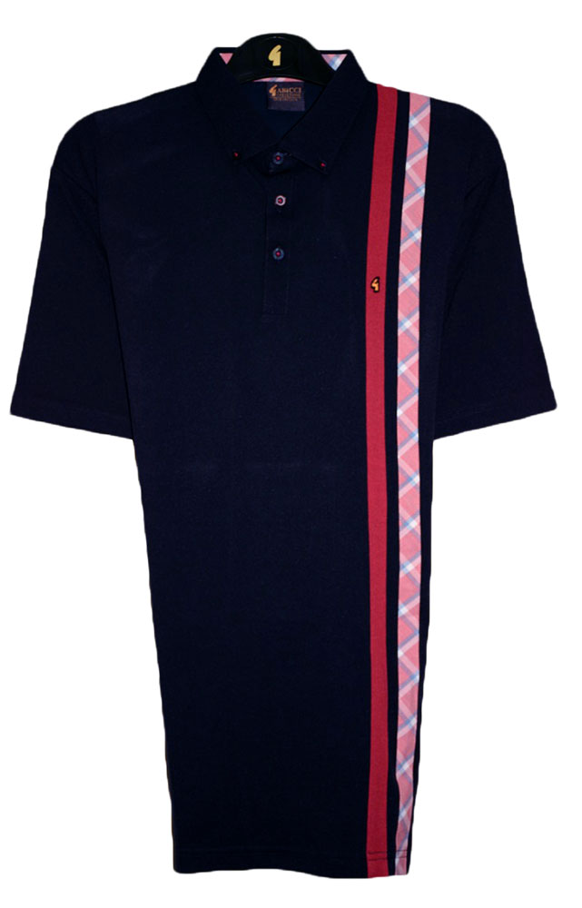 Gabicci - Plain polo shirt with plain and check side stripes
