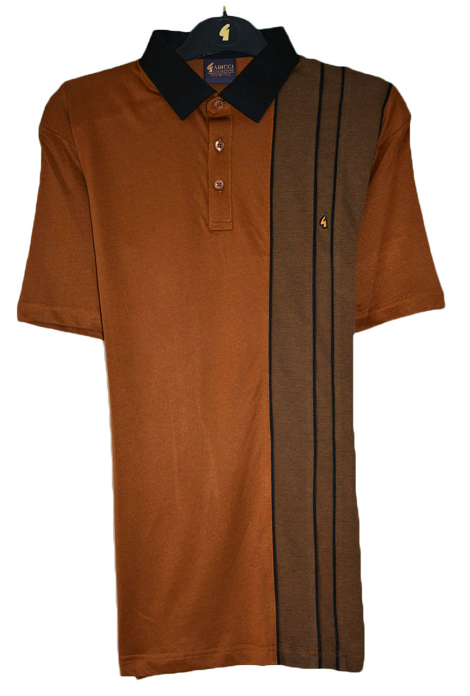 Gabicci - Plain polo shirt with contrast collar and left side contrast block