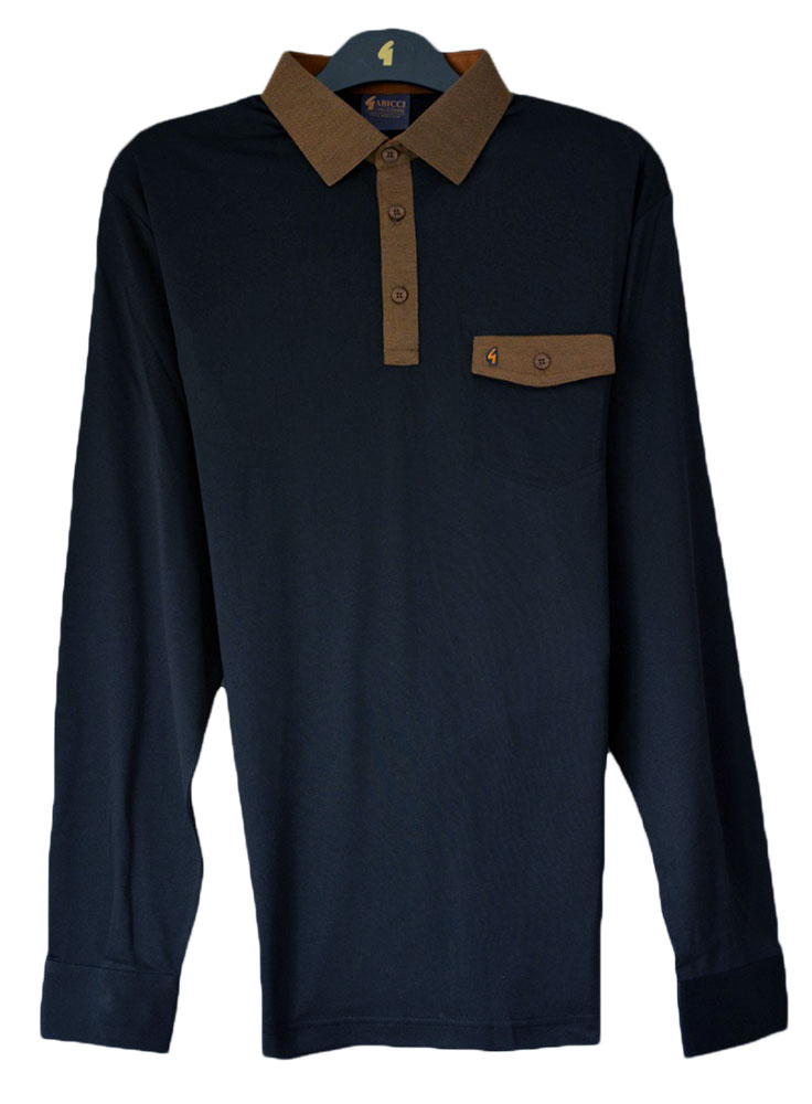 Gabicci - Plain long sleeve polo shirt with contrast collar and pocket top