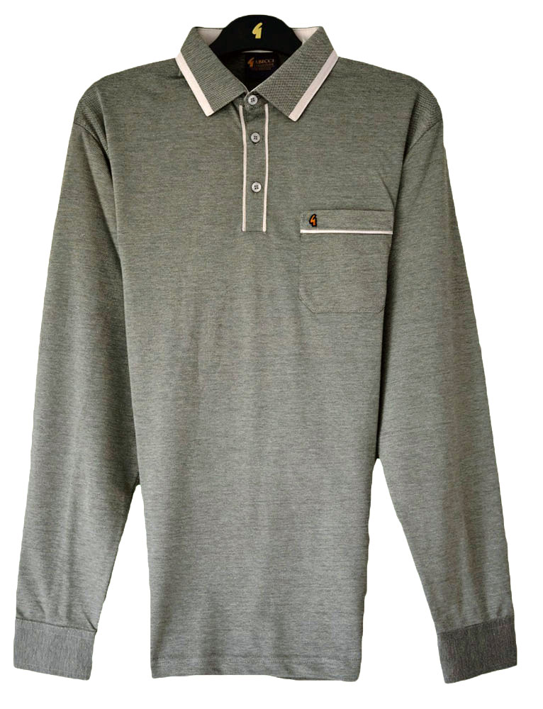 Gabicci - Plain long sleeve polo shirt with contrast collar piping