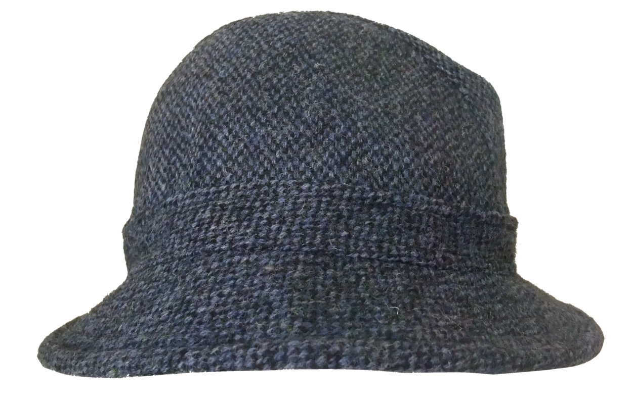 5ab77526ae5fbc Glen Appin Harris Tweed drop brim hat in blue and charcoal houndstooth  pattern
