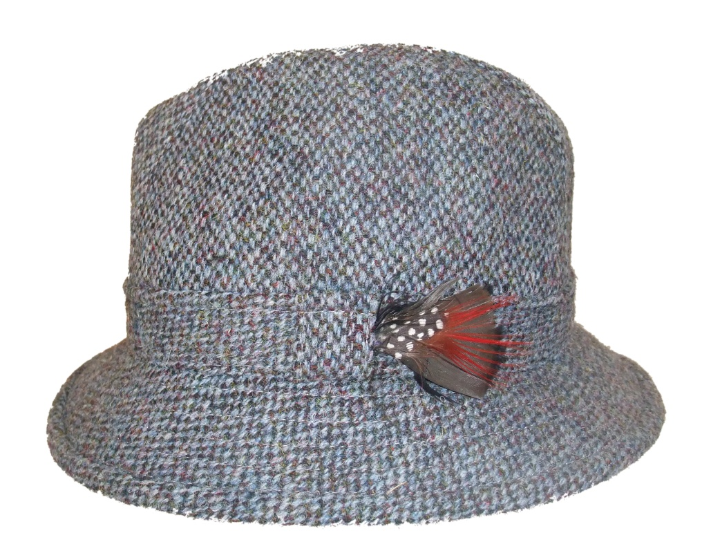 Glen Appin Harris tweed drop drim hat blue brown houndstooth