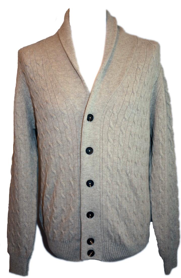 1b95eff7b Johnstons mens cashmere cable and rib shawl collar cardigan in dark ...