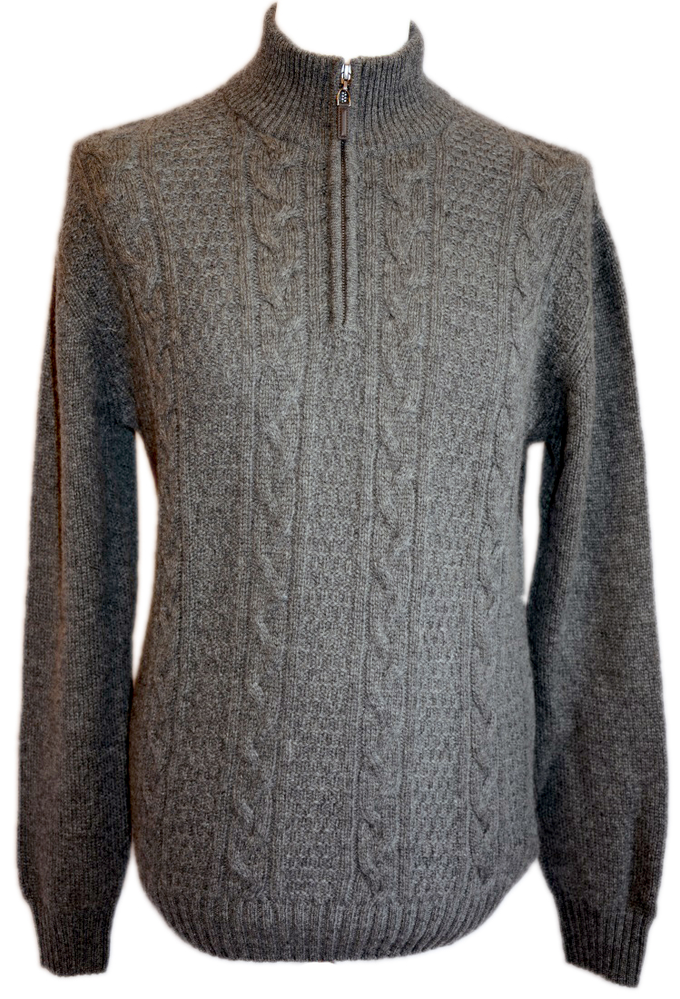 Johnstons - Mens cashmere cable zip neck pullover mid grey