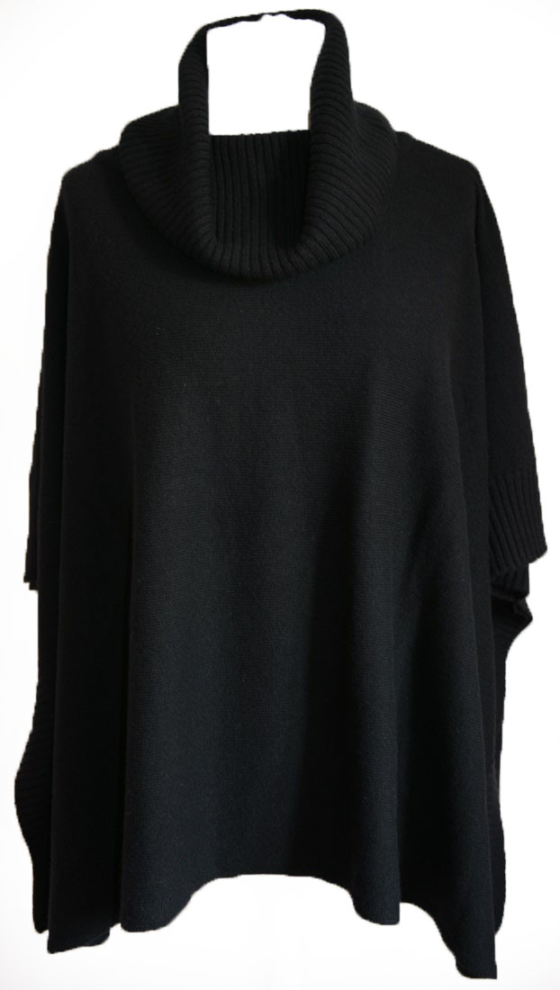 Johnstons - Ladies cashmere cowl neck blanket poncho black