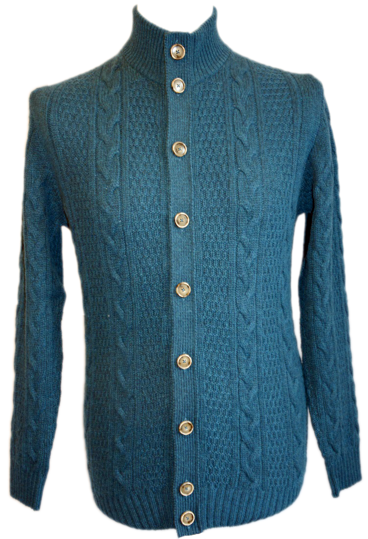 Johnstons - Mens cashmere cable turtle neck cardigan teal