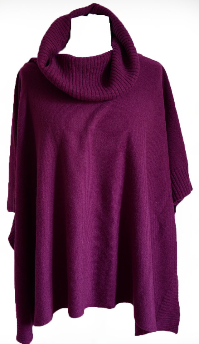 Johnstons - Ladies cashmere cowl neck blanket poncho beetroot