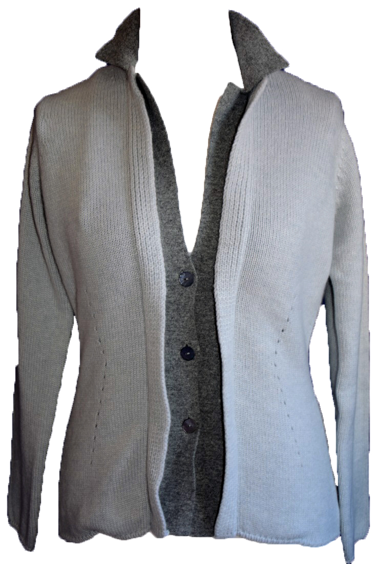 Johnstons - Ladies cashmere 4 ply double collar blazer cardigan platinum and light grey