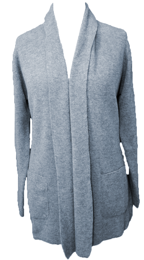 Johnstons - Ladies cashmere 2ply shawl collar cardigan light grey